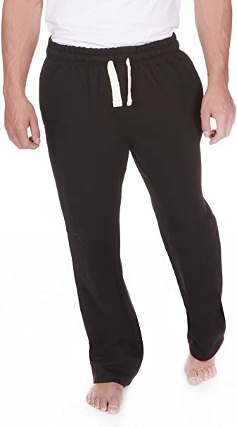 Open Hem Jogging Bottoms Joggers Fleece Trousers Mens Black Grey Charcoal New