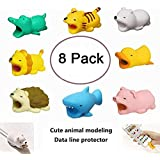 8 Pack Cute Animal Bite USB Charger Data Protection Cover for Iphone Ipad Mini Wire Protector Cable Cord Phone Cord Creative Accessories Gifts
