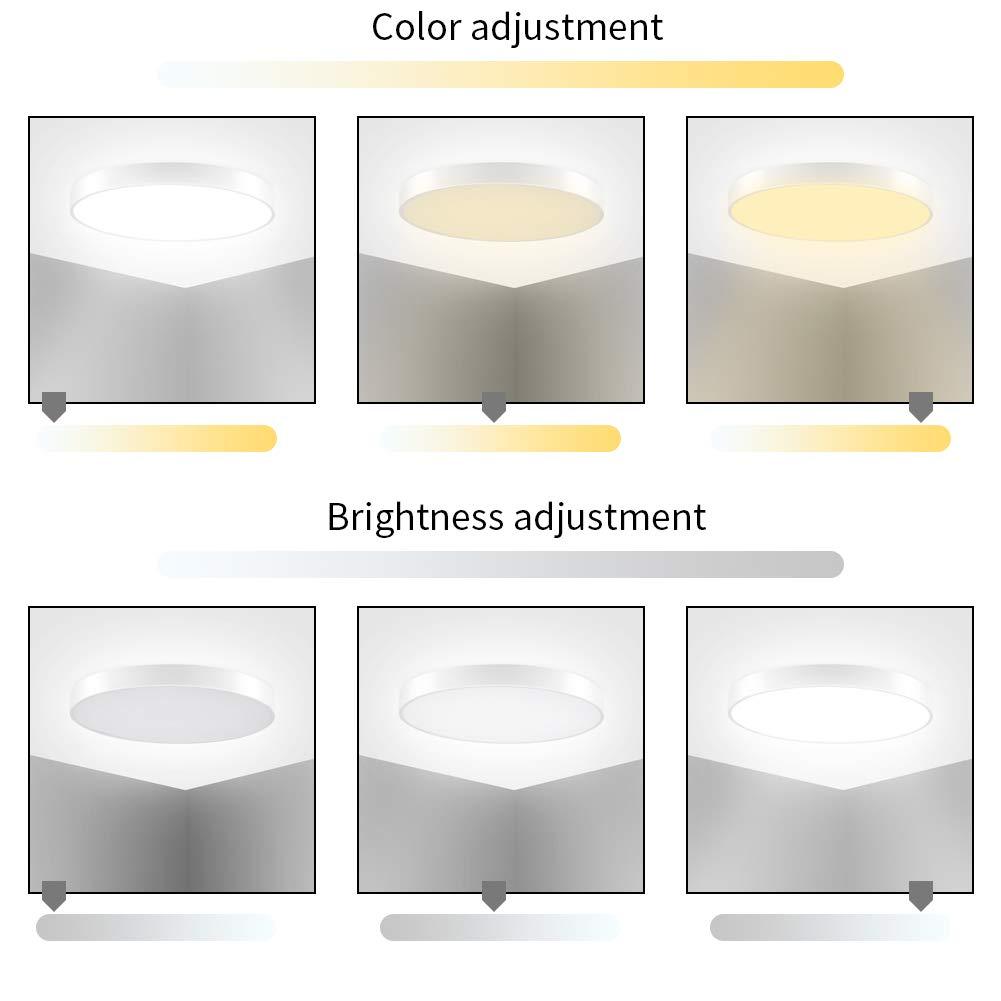 Luz De Techo LED De 36W 3000-6000K Regulable Redondo Empotrado IP20 Impermeable 2160lm Luces De Techo Empotradas Brillantes Para Sala De Estar Dormitorio Ba/ño Pasillo Oficina