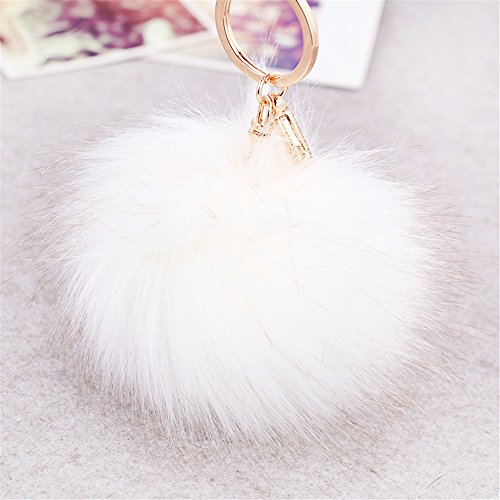 7656bea93df5 delicate Hyning Gold Plated Keychain Cute Genuine Rabbit Fur Ball Pom Pom  Keychain for Car Key