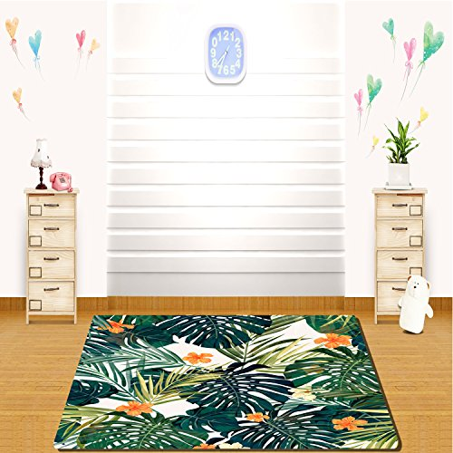 HAIXIA Soft Indoor Area Rug Banana leaves are in harmony with the yellow flowers -