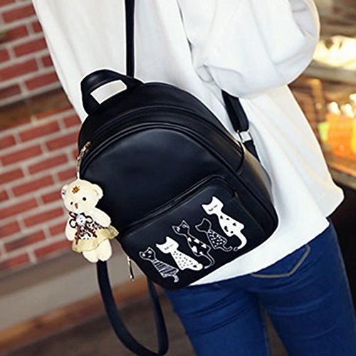 Domybest - Bolso mochila  para mujer Black with Double Zips Black with Cat Print