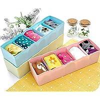 NINTH Plastic Socks Rack - Undergarments Innerwear Cosmetic Makeup Drawer Organiser Partition Grids Storage Box - Multicolour.