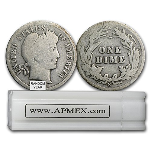 1892-1916 90% Silver Barber Dimes 50-Coin Roll Avg Circ Dime Very (Barber Dime Roll)
