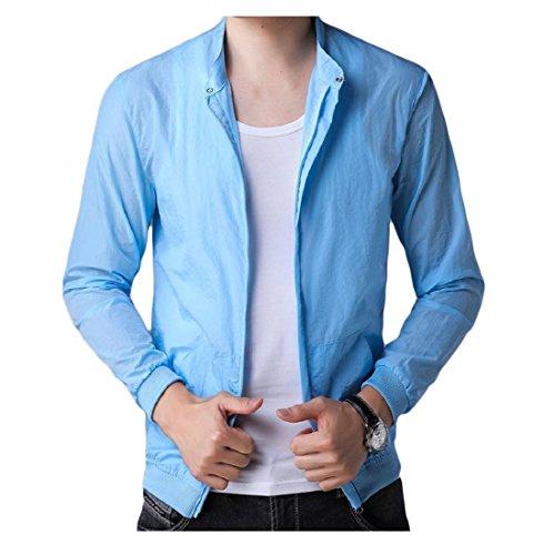 Leggero Solare Againg Di Estate Mens Traspirante Crema Sottile Vestiti Cappotto Blu w5qBBd8