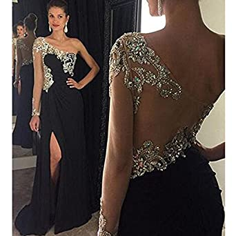 Baijinbai Formal Black Crystal Long Wedding Ball Gown Party Prom Dresses Bridesmaid Evening Dress Black UK06