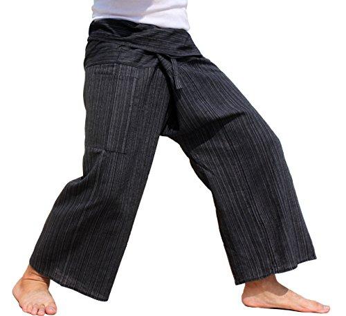Raan Pah Muang Brand Light Striped Cotton Thailand Fisherman Wrap Pants