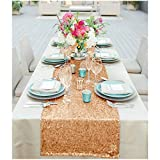 ShinyBeauty Sequin Table Runner 13x108-Inch Rose Gold Table Cover Party Supplies Birthday Tablecloth -0103S