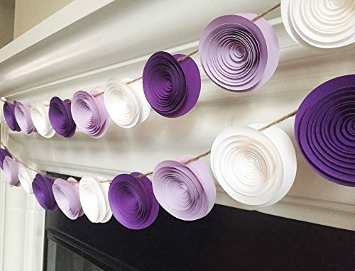 Amazon One 4ft Paper Flower Garland Purple White Lilac