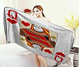Anniutwo Queen,Bath Towel,Queen Hearts Playing Card Casino Design Gambling Game Poker Blackjack,Customized Bath Towels,Vermilion Yellow White Size: W 19.5'' x L 39.5''