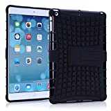 Ipad Air Case, Borch Ipad Air Case Cover - Shock-absorption / Impact Resistant Hybrid Dual Layer 2 in 1 Rugged Hybrid Hard/soft Drop Impact Resistant Case Cover with Built-in Kickstand for Apple Ipad Air (Black)