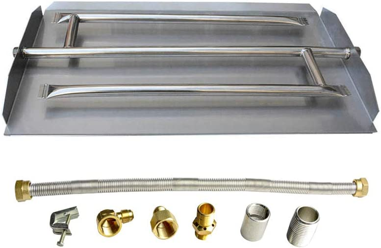 Stanbroil Stainless Steel Propane Gas Fireplace Triple Flame Pan Burner Kit, 16.5-inch