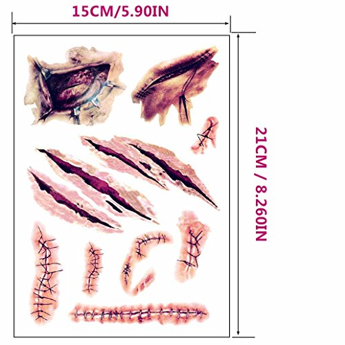 Eiito 2 Sheets Large Halloween Temporary Tattoos, Halloween Zombie Scar Tattoos Fake Scars Bloody Costume Makeup Halloween Decoration Horror Wound Scary Blood Injury Sticker