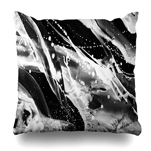 Ahawoso Throw Pillow Cover Square Size 20 x 20 Inches Line Black White Abstract Watercolor Modern Painting Dirty Avant Garde Reminiscent Street Graffiti Home Decor Cushion Case Zippered Pillowcase