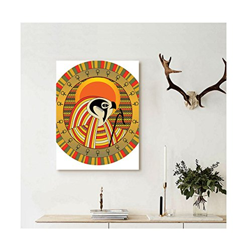 Collage Oil Reproductions (Liguo88 Custom canvas Sun Egyptian Decor Illustration of Ancient Egyptian God Sun Ra in Colored Sun Design Print Wall Hanging White Gold Orange Green)