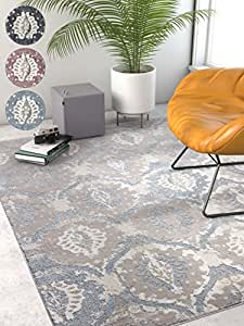 "Allegro Blue Microfiber High-Low Pile Vintage Abstract Erased 8x10 (7'10"" x 9'10"") Area Rug Modern Ogee Panel Floral Oriental Carpet"