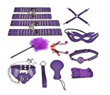 SuPoo 10pcs Fetish Bondage Restraint SM BDSM Adult Bondage Kit (Purple)