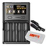 Nitecore SC4 Superb Charger with USB Output includes Car Charger Adapter and LumentTac Battery Organizer Bundle for 18650 17650 17670 RCR123A 16340 14500 Batteries