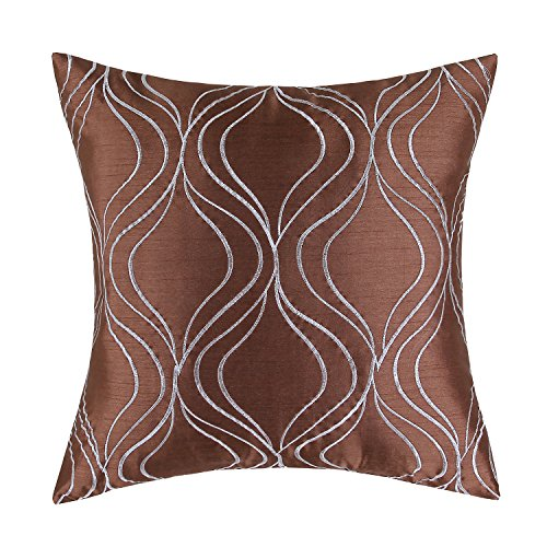 Euphoria CaliTime Cushion Cover Throw Pillow Case Shell 18 X 18 Inches, Brown Ground Gray Waves Embroidered