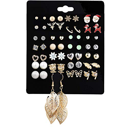 - DearShiny Joyful 28 Pairs Earrings Stud Set Gold Plated Christmas Theme Jewelry Gift Santa Snowflake Daisy Filigree Leave Kids Girls Women