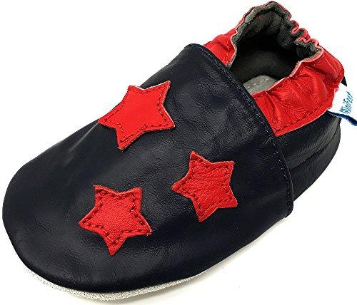 MiniFeet Premium Weich Leder Babyschuhe Jungen und Mädchen 0-6, 6-12, 12-18, 18-24 Monate und 2-3, 3-4 Jahre Rote Sterne
