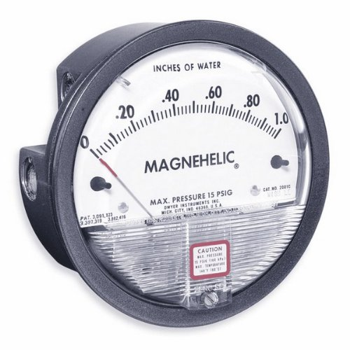 Dwyer Differential Pressure Gauge - Dwyer 2000-00 Magnehelic Differential Pressure Gauge, 2000: 0-0.25