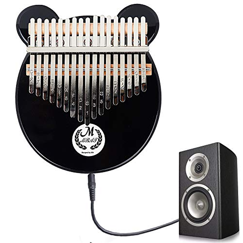 Kalimba 17 Keys Thumb Piano with EQ,Acrylic Mbira Finger Piano with with Eva Carry Bag,Musical Instrument Gifts for Kids Adult Beginners with Tuning Hammer and Study Instruction (Black)