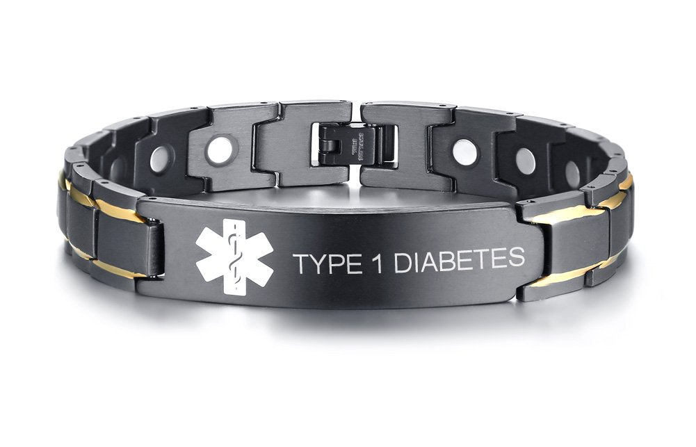 TYPE 1 DIABETES Black Ion Plated Stainless Steel Magnetic Therapy Health Emergancy Medical Alert ID Bracelets for Men Dad,8.6''