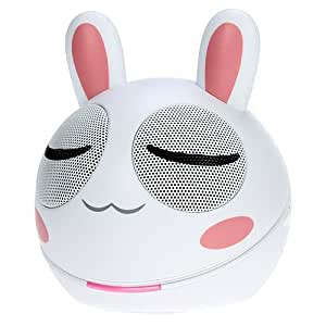 iKross 3.5mm white and Pink Rabbit Portable Mini Stereo Speaker for iphone 6, Blackberry, iPhone, iPod, iPad, Smartphone, Tablets, Cell Phone