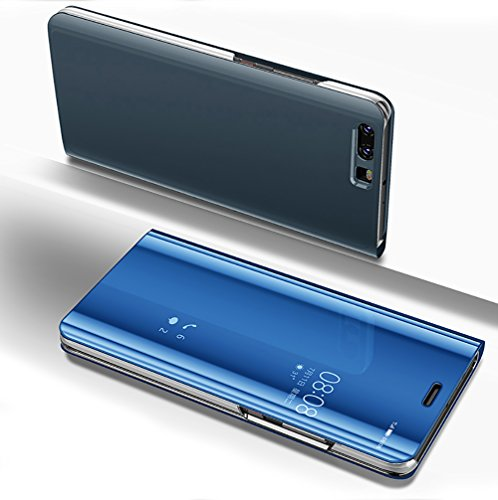 Case For Huawei P10 Lite Girlyard Smart Clear View Window Flip Folio Pu Leather Electroplate Plating Metal Pc Hard Luxury Mirror Phone Cover With Vertical Kickstand For Huawei P10 Lite Blue