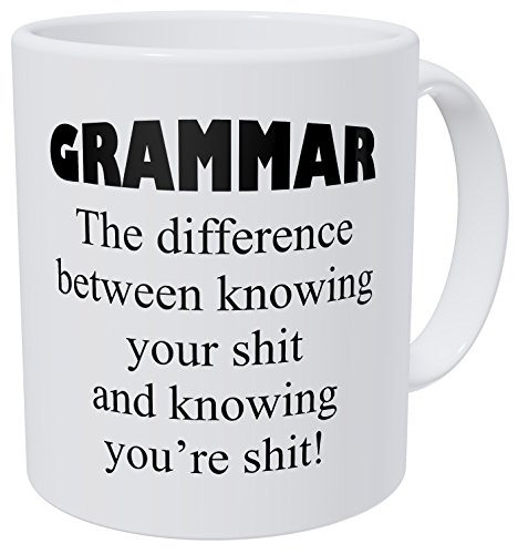 Wampumtuk Grammar, The Difference Between Knowing Your Job 11 Ounces Funny Coffee Mug (Difference Between Little And A Little Grammar)