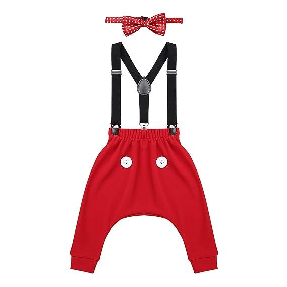 iiniim Bebé Niño Niña Ratón Cumpleaños 3 Piezas Halloween Nacidad Fiesta Ceremonia Boda Traje Pantalones + Tirantes + Pajarita Traje Rojo Negro para Bebé ...