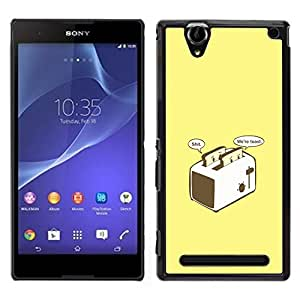 MOBMART Slim Sleek Hard Back Case Cover Armor Shell FOR Sony Xperia T2 Ultra - Worried Toast - Funny