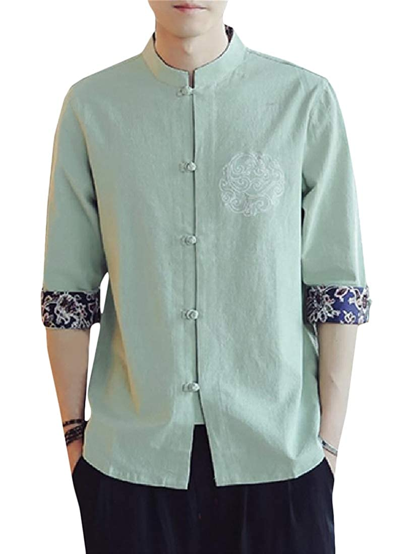 Cromoncent Mens Half Sleeve Frog-Button Stand Collar Button Front Shirts