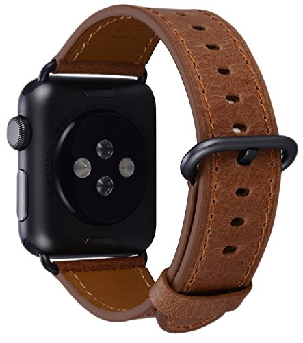 PEAK ZHANG Compatible Iwatch Band 38mm 40mm Women Men Genuine Leather Replacement Strap Space Grey Adapter Buckle Compatible Series 4 (40mm) Series 3/2 /1 (38mm) Sport Edition, M/L Caramel
