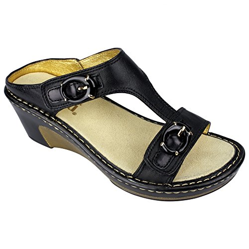 Alegria Women's Lara Black Butter Sandal 40 (US Women's 10) Regular by Alegria
