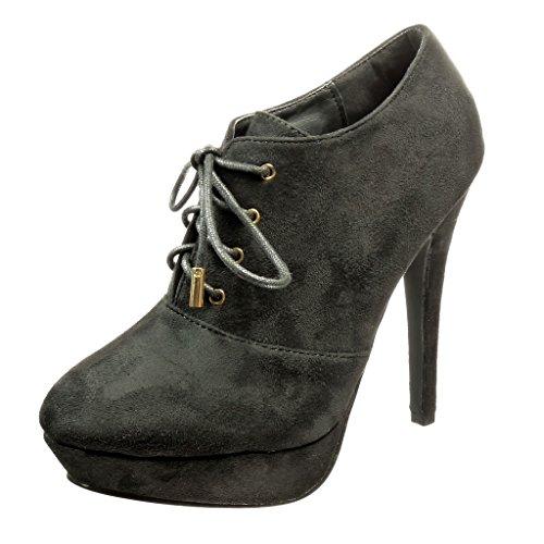 Angkorly - Scarpe da Moda Stivaletti - Scarponcini low boots stiletto zeppe donna Tacco Stiletto tacco alto 12 CM - Nero