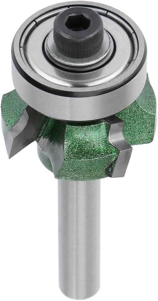 FTVOGUE Edge Trimmer Router Bit R1 / R2 / R3 Carpintería Fresadora 4 dientes Cortadora de recorte para carpintería Máquina de grabado (1/4 * R2)