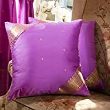"Indian Selections Lavender - Set of 2 Decorative handcrafted Sari Cushion Cover, Throw Pillow Case 16"" X 16"""