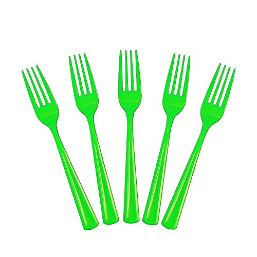 Kiwi Forks - Exquisite Solid Color Premium Plastic Cutlery, Heavy Duty Plastic Disposable Forks - 50 Count - Lime