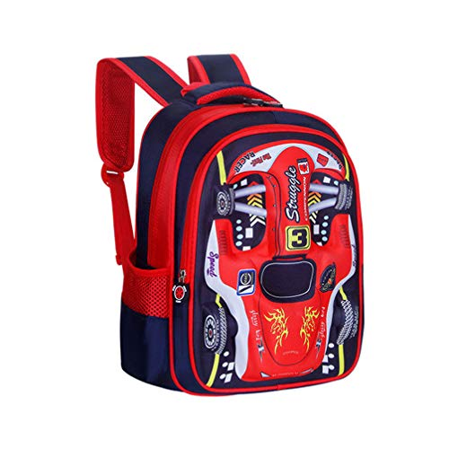 Yifei Waterproof Children Backpack Kid Backpack Cloth Book Bag Cute Car Cartoon 3D Stereo Stamper Design Child Durable School Bags Backpack (red)