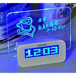 Domire 5 LED Message Board With Highlighter Digital Alarm Clock With 4 Port USB Hub