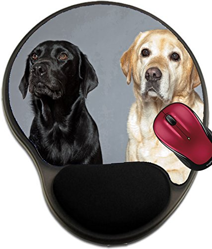 Liili Mousepad wrist protected Mouse Pads/Mat with wrist support design IMAGE ID: 17931969 Blonde and black labrador retriever dog together Studio -