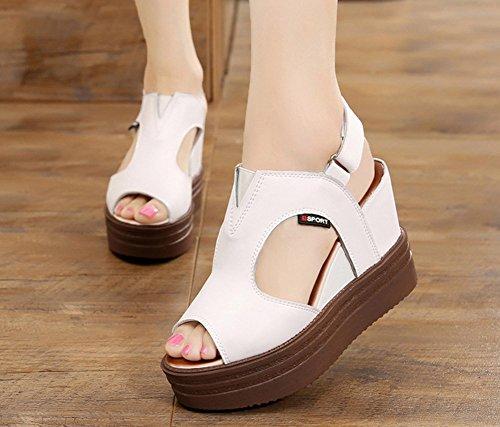 confort verano de Peep para de Blanco y Toe cuña Sandalias Zapatos mujer oficina negro carrera cuero de SHINIK blanco del talón fYw678q55