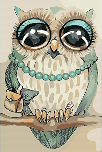 Diy Oil Painting, Paint by Number kit Owl With Pearl Necklace Handbag Diamond Ring 16x20 inch [Wooden Frames need to be installed] By Prime Leader