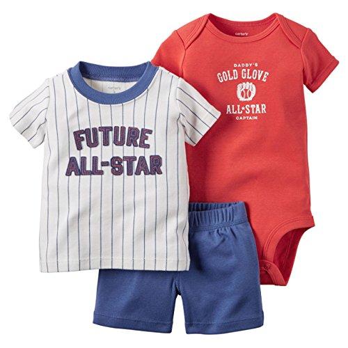 Carter's Baby Boys 3 Piece Tee, Bodysuit & Shorts Set, All Star, 6 Months