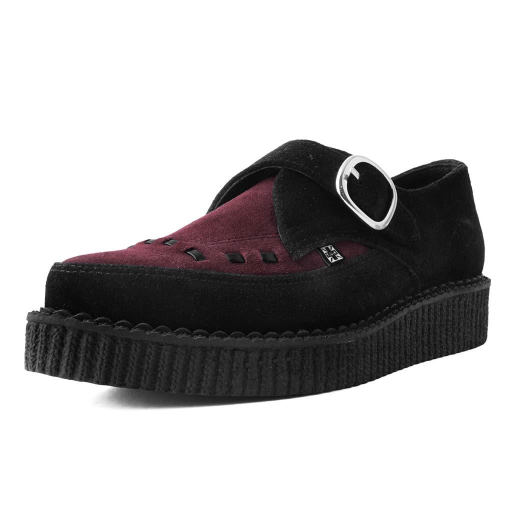 Shoes Donna Nero /& Borgogna Camoscio Monaco Fibbia A Punta Creeper T.U.K