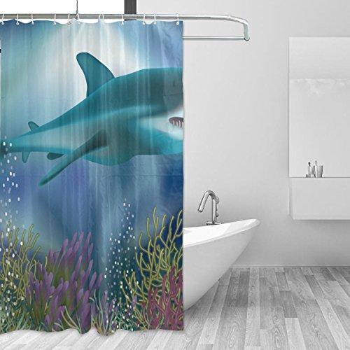 imobaby Underwater Wallpaper With White Shark Polyester Fabric Shower Curtain 60 x 72 Inch,Mildew Antibacterial Odorless Waterproof Bathroom Decorative Bath Curtain Multi149