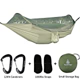 GLORYFIRE Camping Mosquito Net, Four Corners Enhanced Tactical Mosquito Net, Outdoor Mosquito Net Bar Olive Drab (Hammock with Mosquito Net)