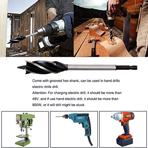 Woodworking Auger Drill Bit Sets, 8Pcs High Carbon Steel Wood Boring Bits Long 4 Flute Cut Drilling Tool Wood Hole Cutter for Wood Door Lock 9/23, 9/19, 5/9, 7/11, 5/7, 11/14, 13/15, 63/64-IN